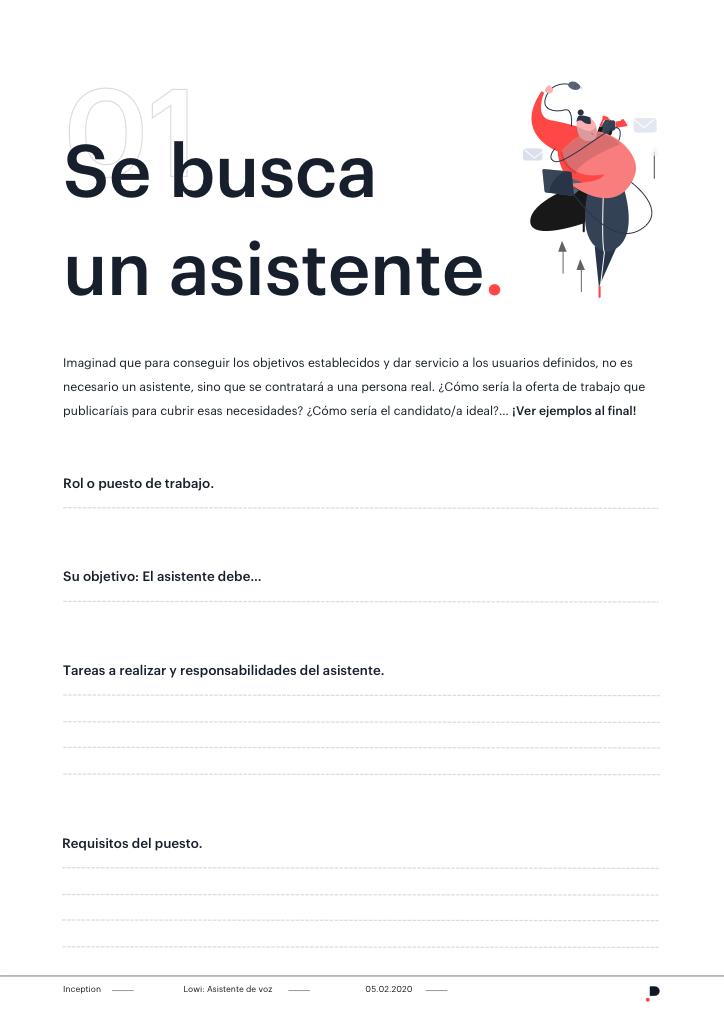 Plantilla para diseño de la personalidad de un asistente de voz o chatbot - Oferta