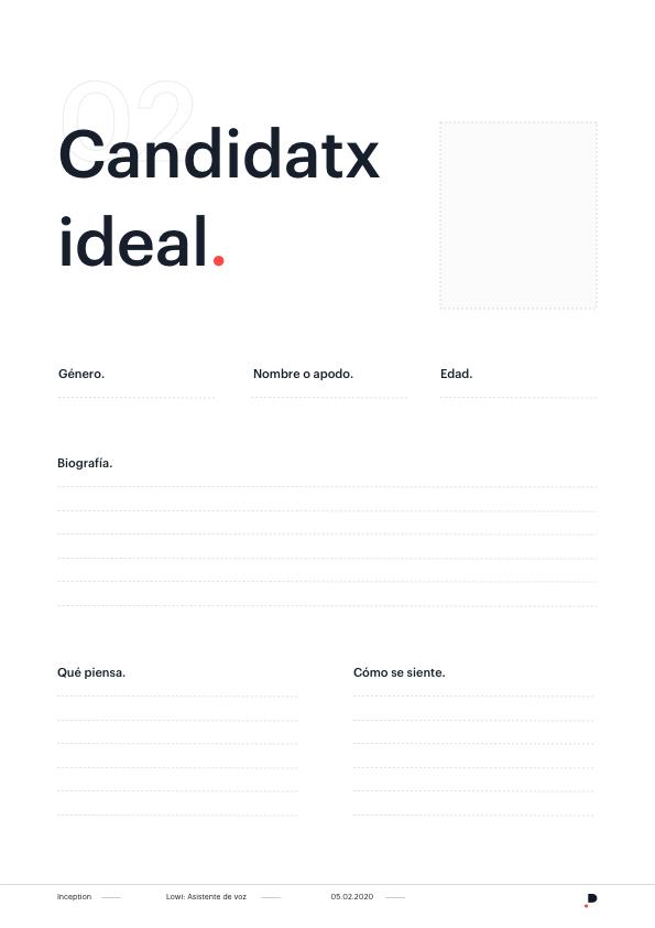 Plantilla para diseño de la personalidad de un asistente de voz o chatbot - Candidato