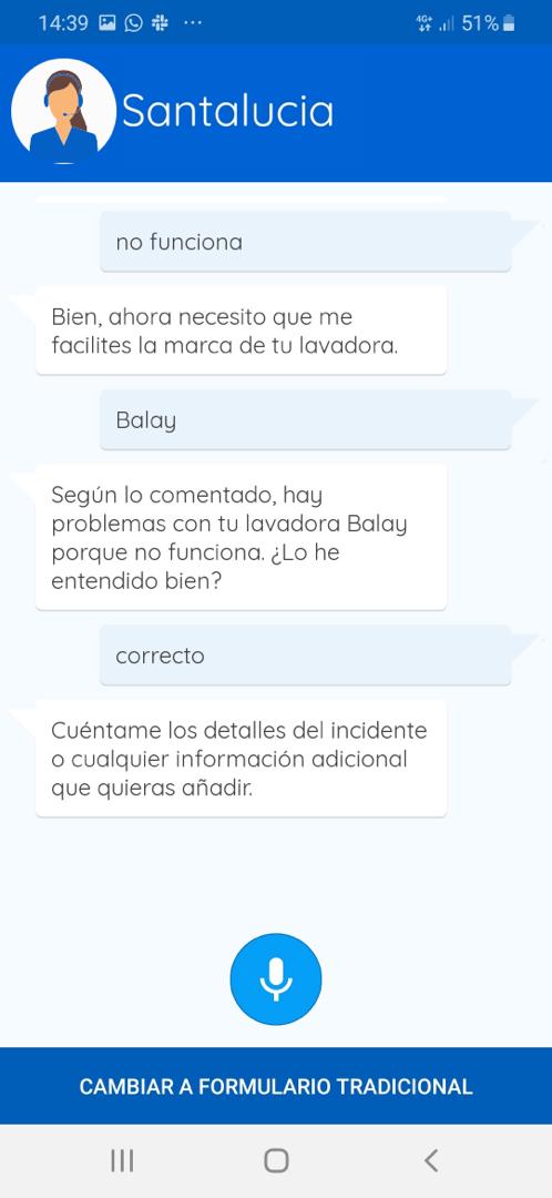 Aplicación del asistente virtual de voz de Santalucía